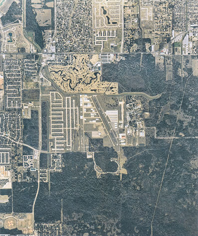 Aerial View of West Houston Airport in Houston, Texas
